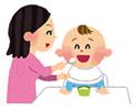 離乳食を食べる園児